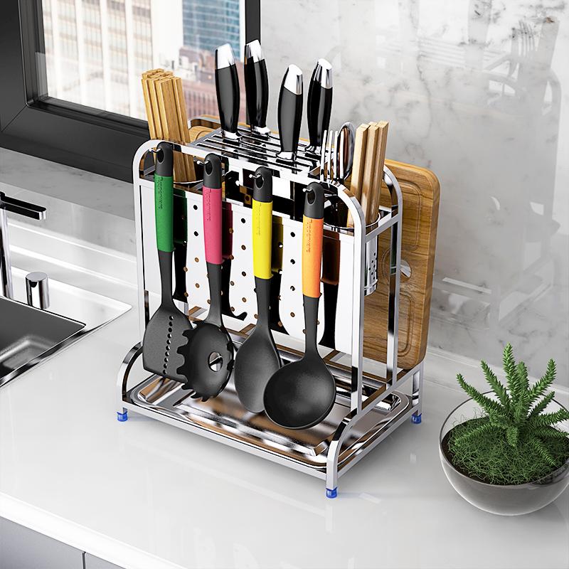 304不锈钢多功能厨房刀架置物架用品放刀座砧板菜板架子刀具收纳