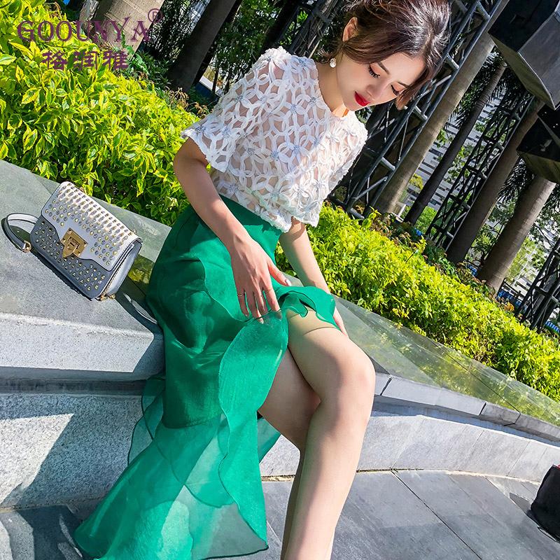 格润雅半身裙夏女2018新款时尚韩版高腰中长款显瘦包臀荷叶鱼尾裙