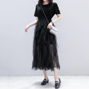胖mm夏上新宽松仙女网纱裙拼接连衣裙女长裙过膝蛋糕裙