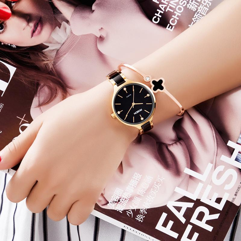 劳士顿官方手表女士时尚潮流女表 陶瓷正品防水女士手表简约腕表