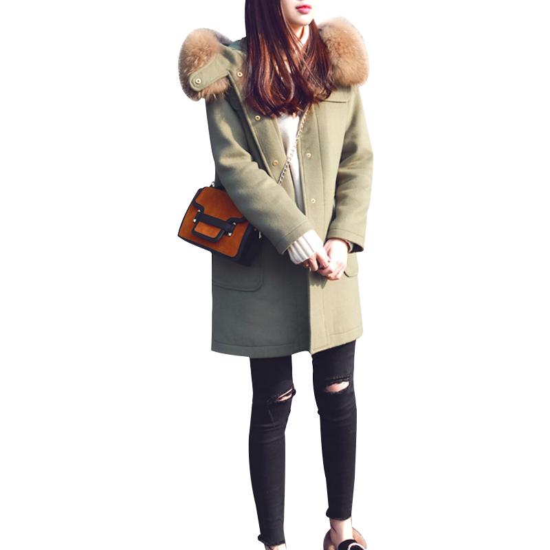 женское пальто Супер енота меховым воротником зимой 2016 новых сгущаться тонкие длинные шерстяные ткани пальто шерсти пальто женщин