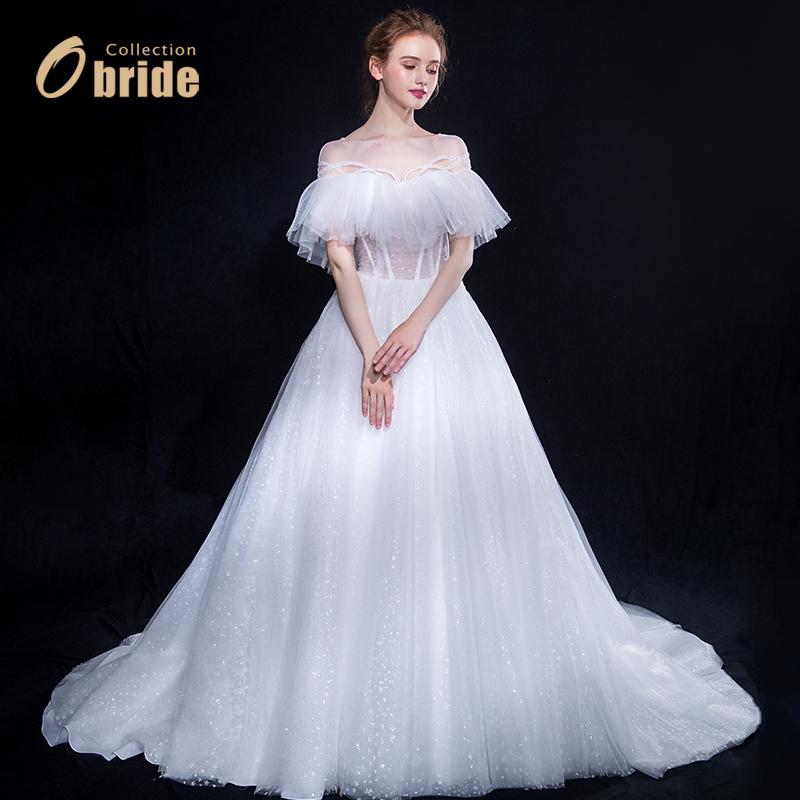 欧泊蕾2018年新款公主一字肩森系出门纱显瘦定制新娘结婚主婚纱轻
