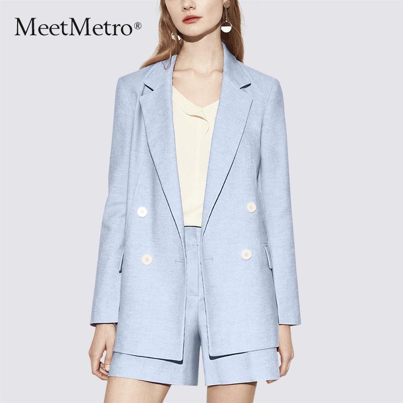 MeetMetro小西装套装女春装2018新款时尚气质职业修身西服两件套