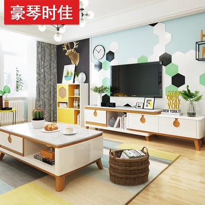 北欧大理石茶几电视柜组合家具套装 现代简约原木色伸缩电视柜
