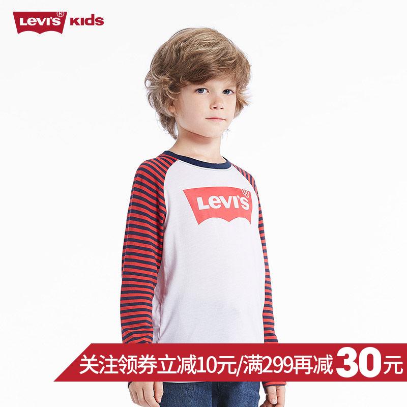 Levi's李维斯旗舰店官网正品童装男童秋季大童圆领拼接长袖T恤衫