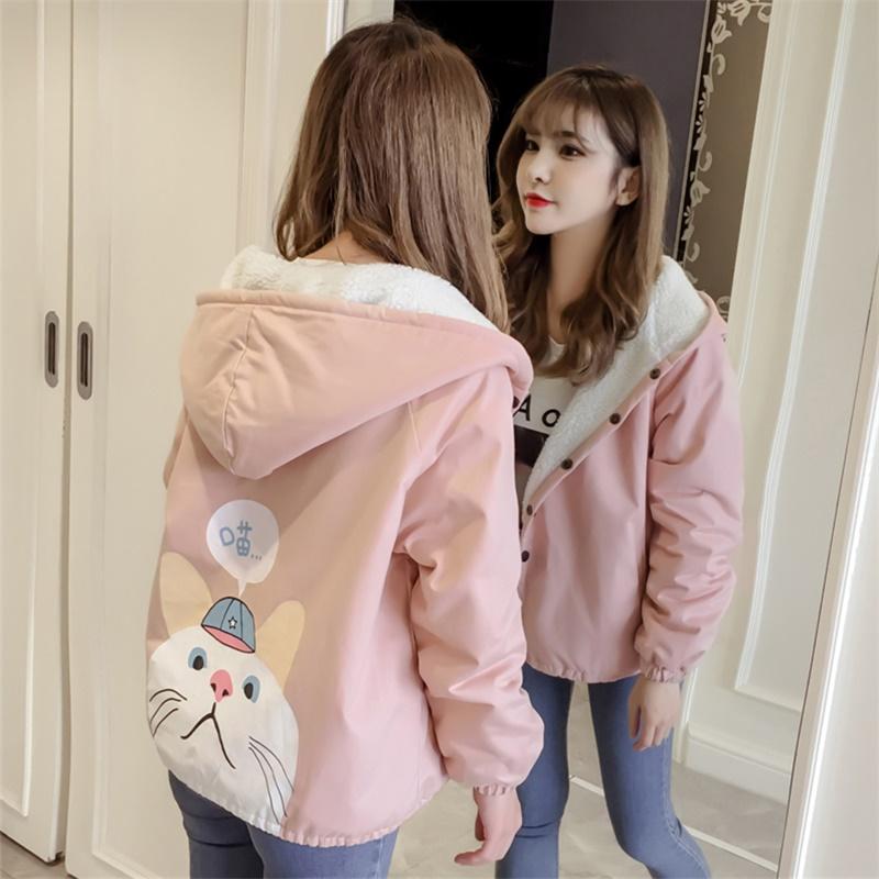 羊羔毛可爱棉衣棉服少女秋冬装2018新款初中学生韩版加绒加厚外套