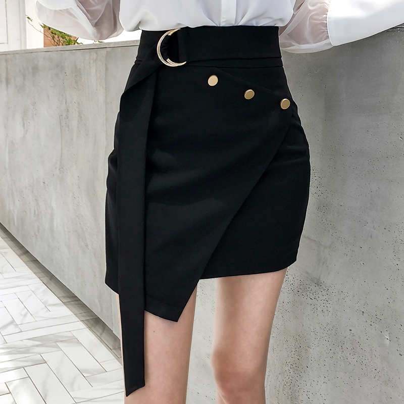 爱熹尔黑色不规则一步裙2018新款韩版时尚高腰修身短款包臀裙子女