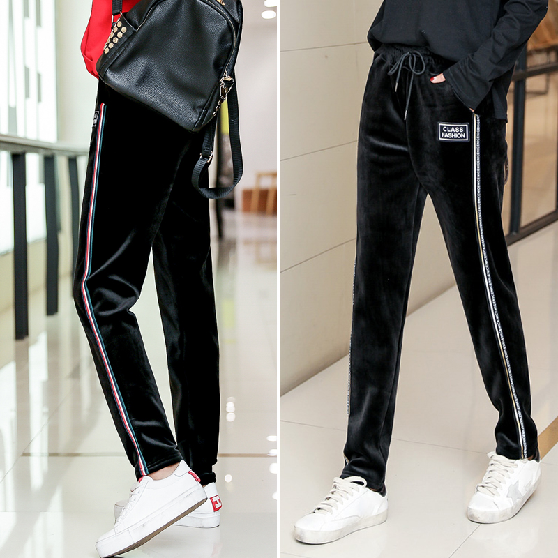 2018 autumn and winter New plus velvet thick gold velvet warm Harlan was thin casual sports pants women loose Wei pants