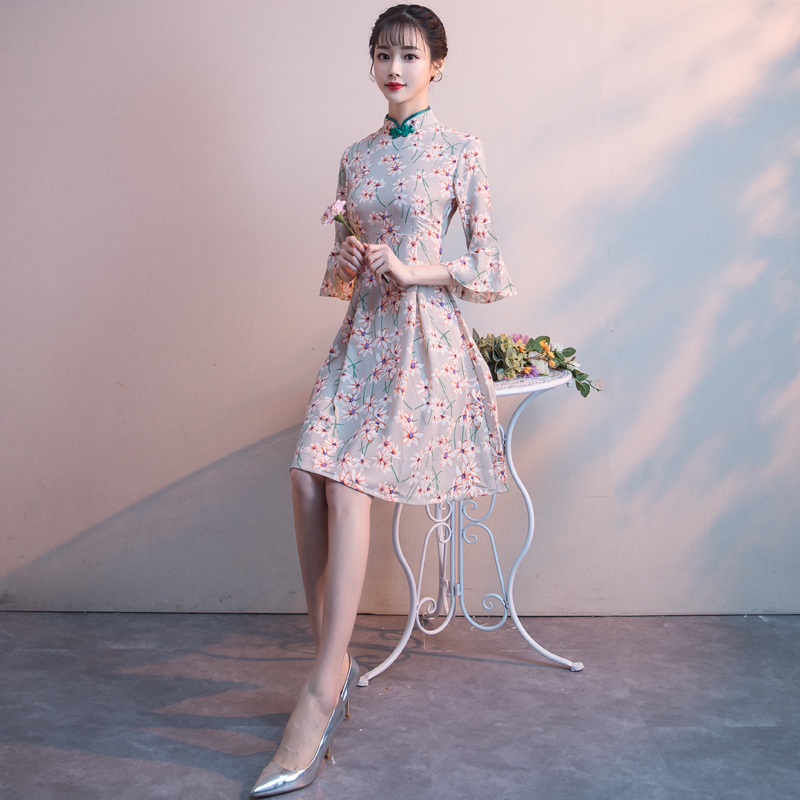 旗袍连衣裙2018新款改良日常短款中式小礼服秋冬季长袖宴会晚礼服
