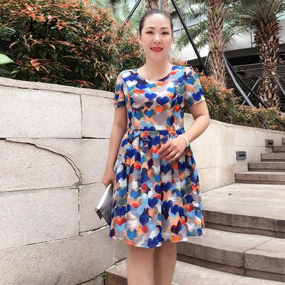 尘伊2018夏装新款OL大码女装圆领短袖收腰显瘦印花连衣裙H68沁