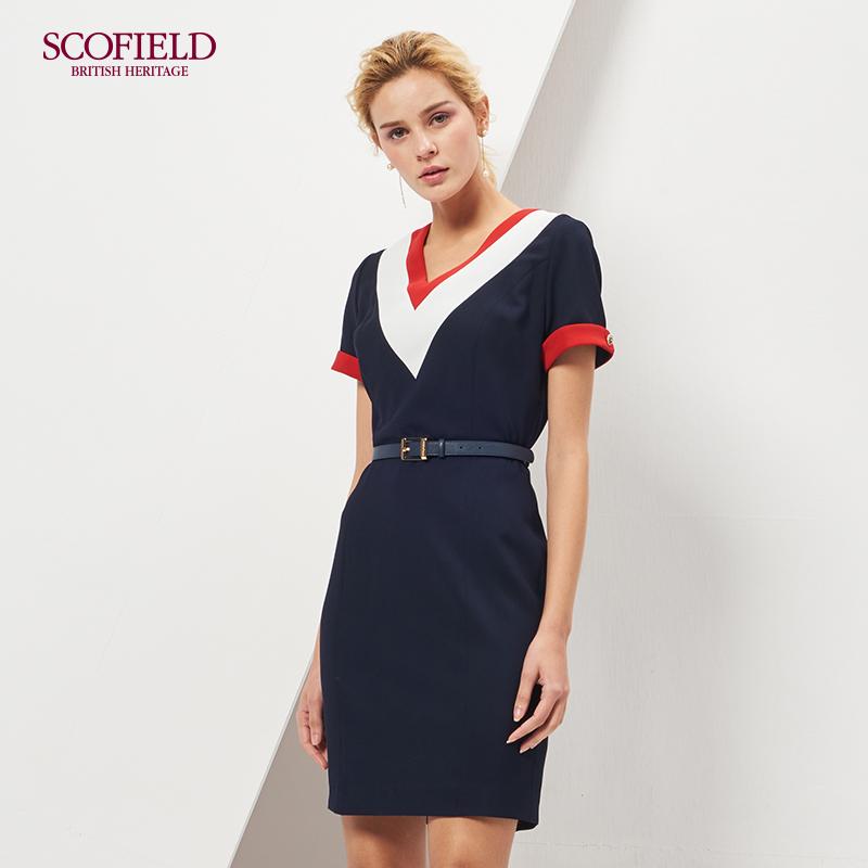 SCOFIELD新品通勤淑女收腰V领短袖撞色中长款连衣裙SFOW86202L