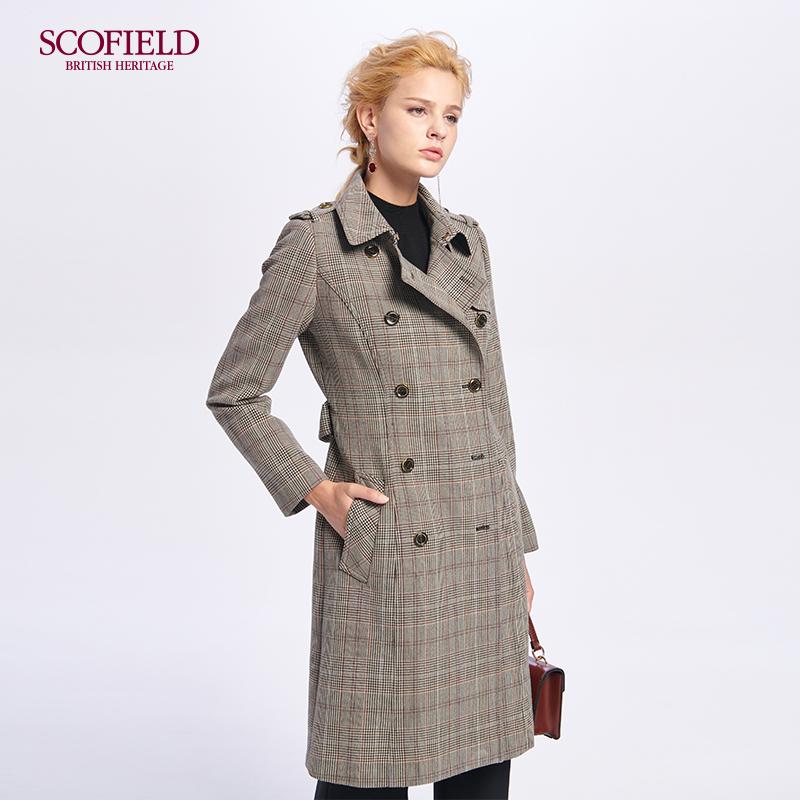 SCOFIELD女装 2018秋冬英伦通勤风格纹双排扣棕色风衣 SFJT88201L