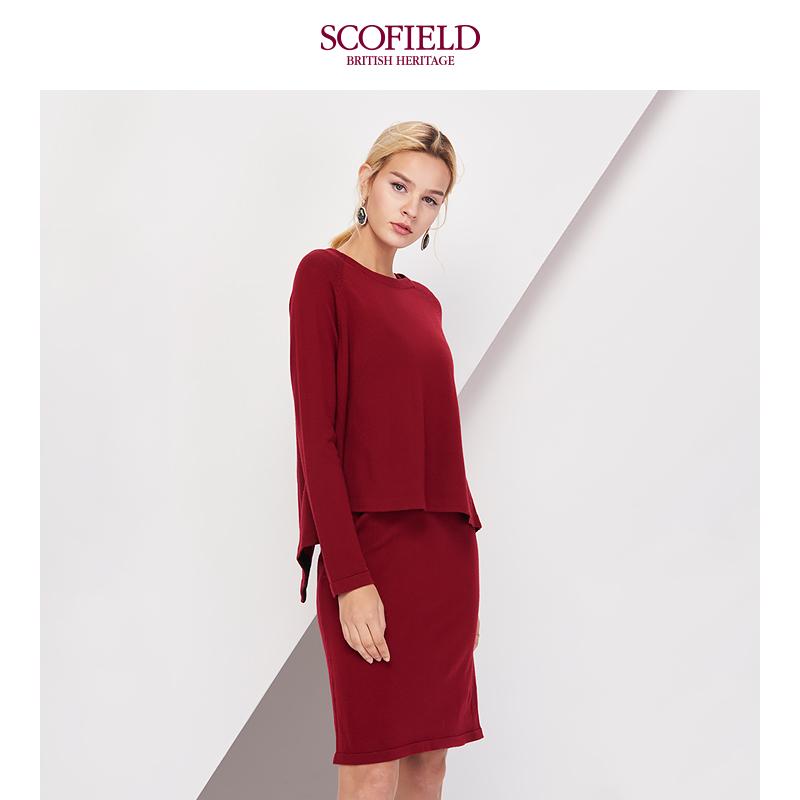 SCOFIELD女装2017冬季羊毛酒红色两件套中长款连衣裙SFOK78101L