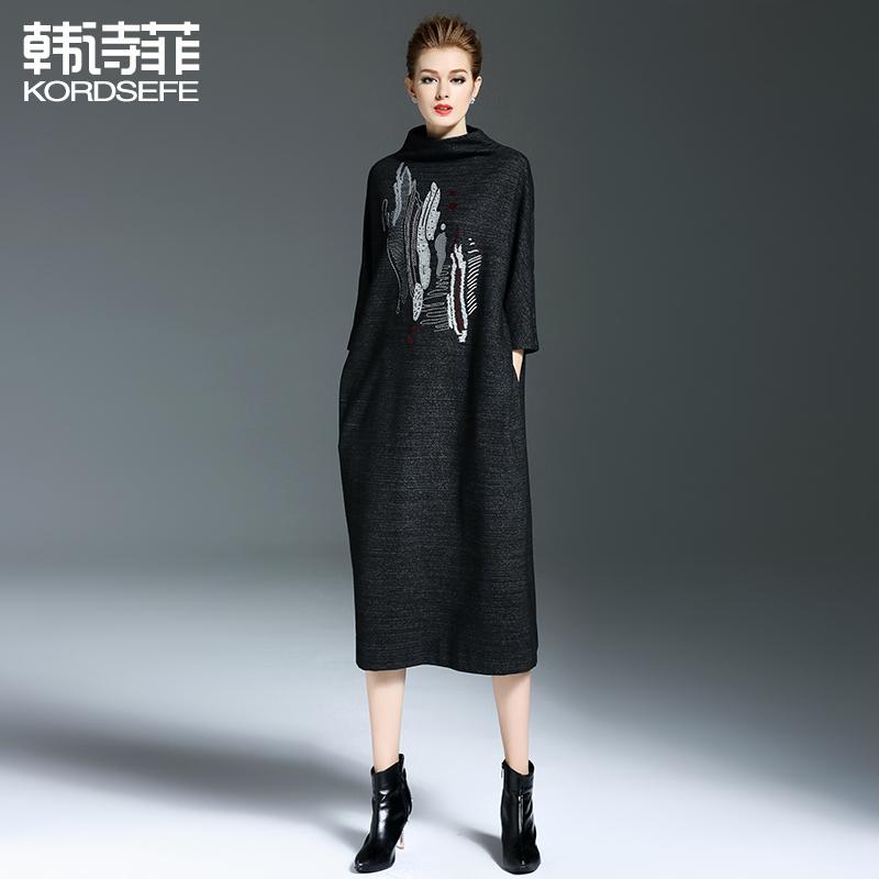 2018秋季新款女装宽松大码针织连衣裙冬季时尚气质中长款打底裙子