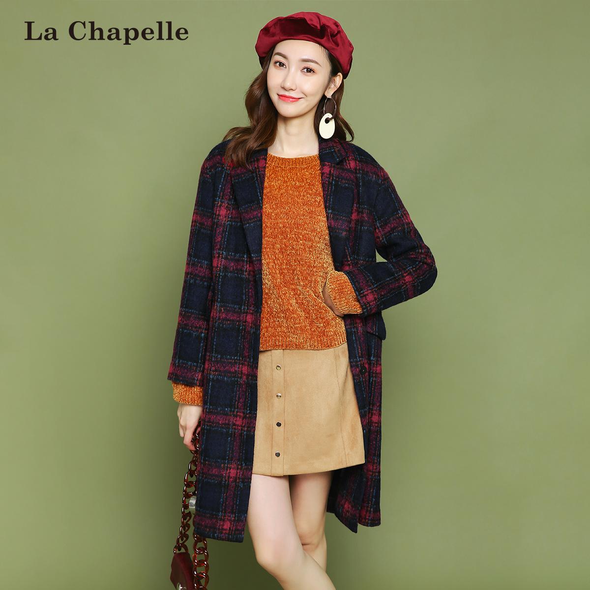 BEANPOLE/滨波 呢子过膝大衣拉夏贝尔秋冬装韩版女装黑色显瘦中长款毛呢外套女士