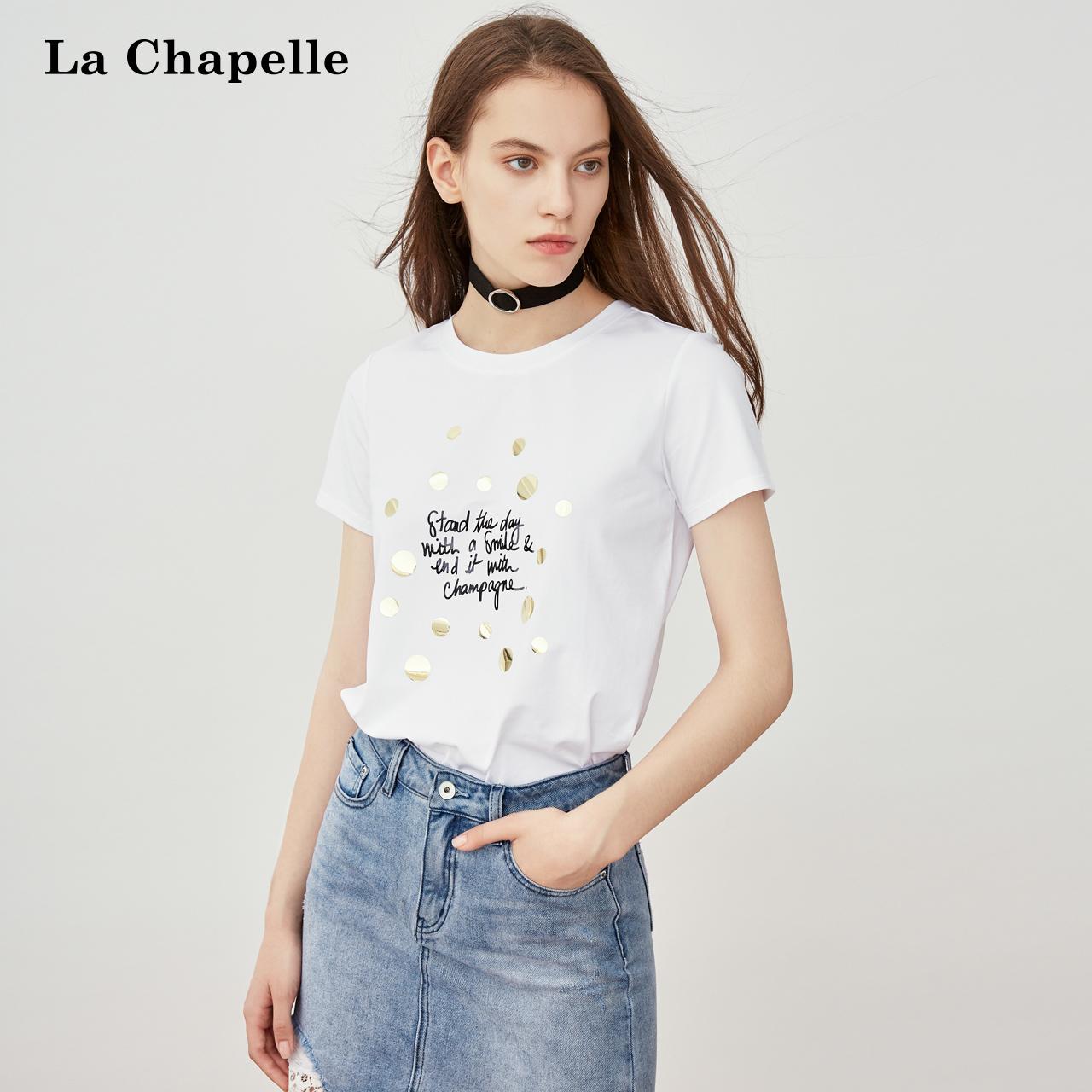印花短袖t恤女拉夏贝尔2018夏装新款韩版宽松百搭白色街头上衣