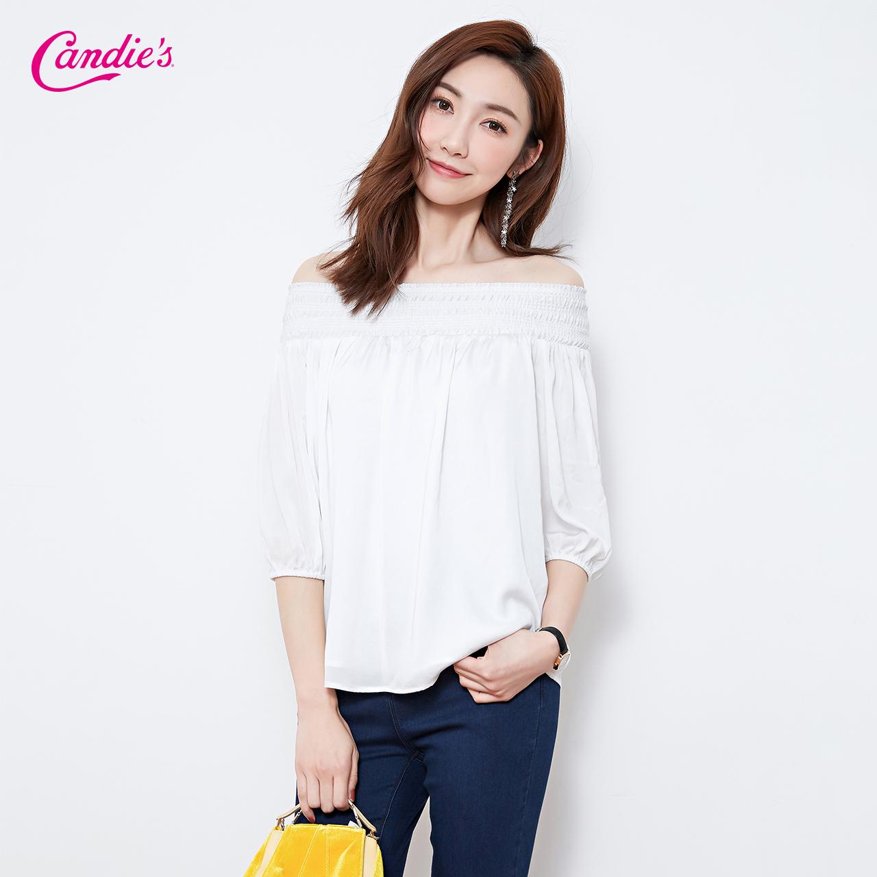 一字领露肩上衣2018年夏季新款七分袖白色洋气遮肚子小衫时尚女士