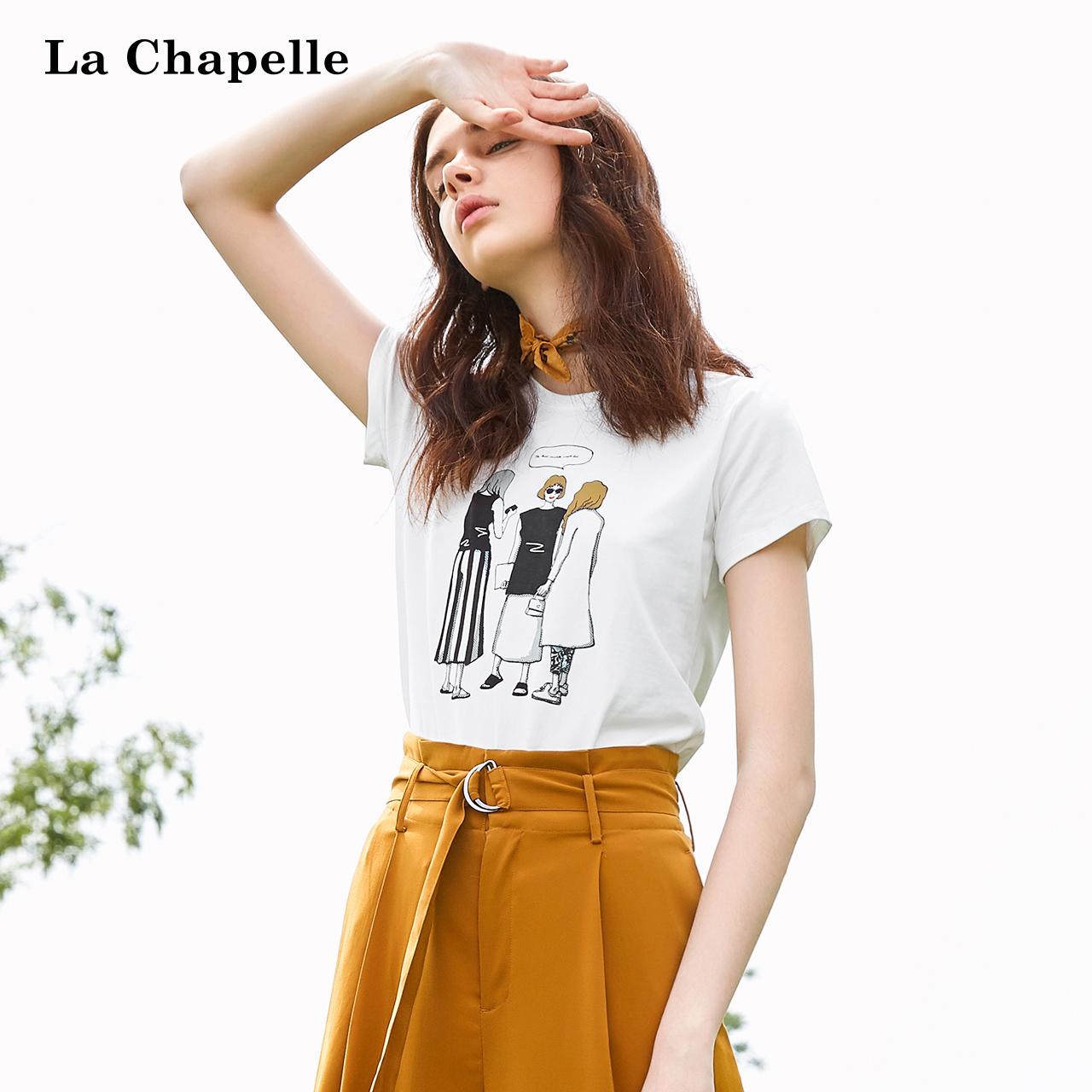 印花t恤女拉夏贝尔2018夏季亚博线上开户韩版修身上衣时尚百搭短袖打底衫
