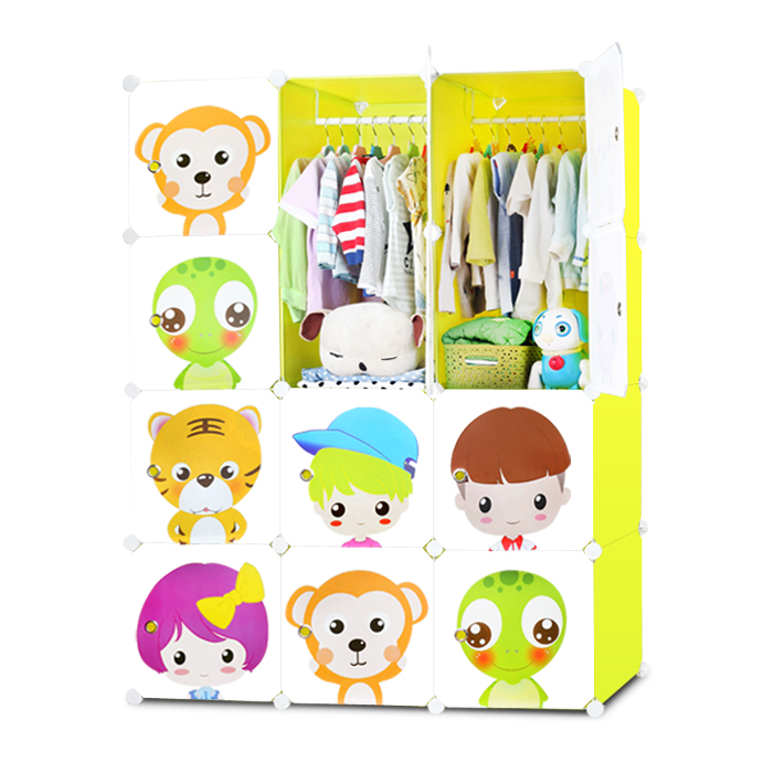 Blue Puffin Cartoon Wardrobe Simple Child Baby Baby Storage Cabinet Combination Plastic Resin Assembly Wardrobe