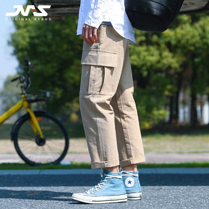 江南先生原创男装 日系工装立体口袋潮男直筒休闲裤春秋纯色长裤