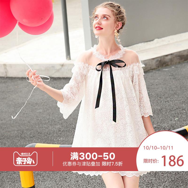 婕西孕妇装秋季新款公主风中长款连衣裙五分袖蕾丝孕妇裙DZ5186
