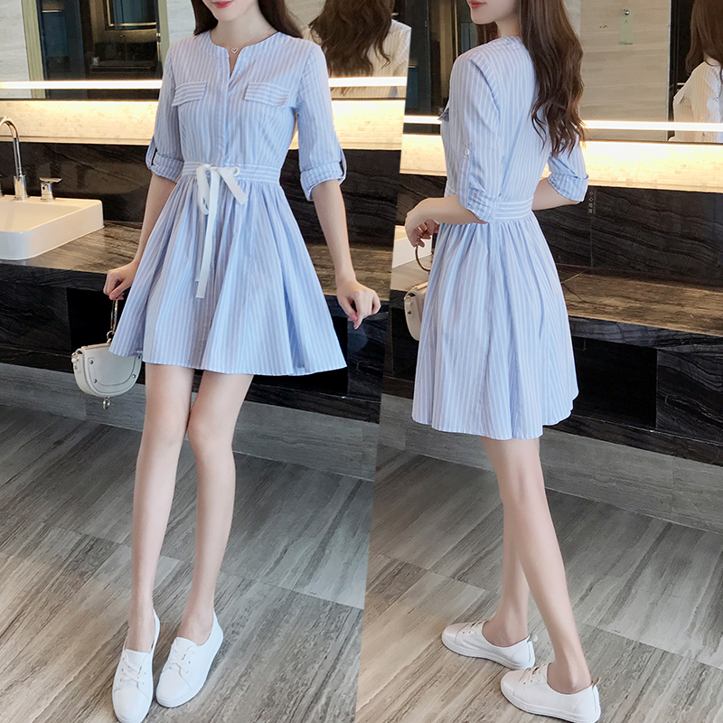 春装2018新款女蓝色条纹韩版小清新连衣裙显瘦学生衬衫裙子女夏
