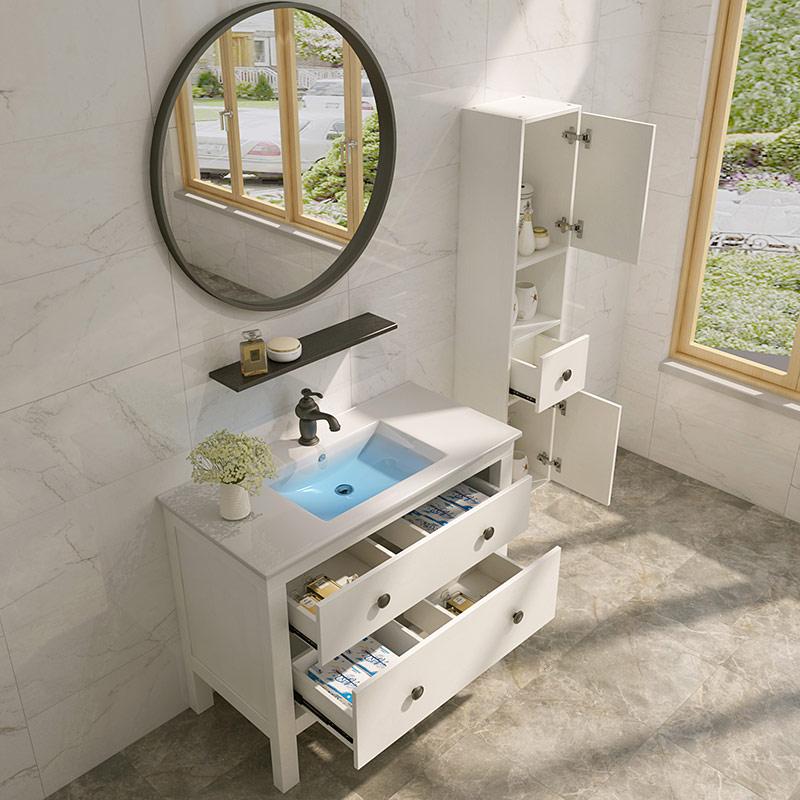 经济型铁艺圆镜洗漱台欧式实木浴室柜组合卫生间落地式洗手台盆