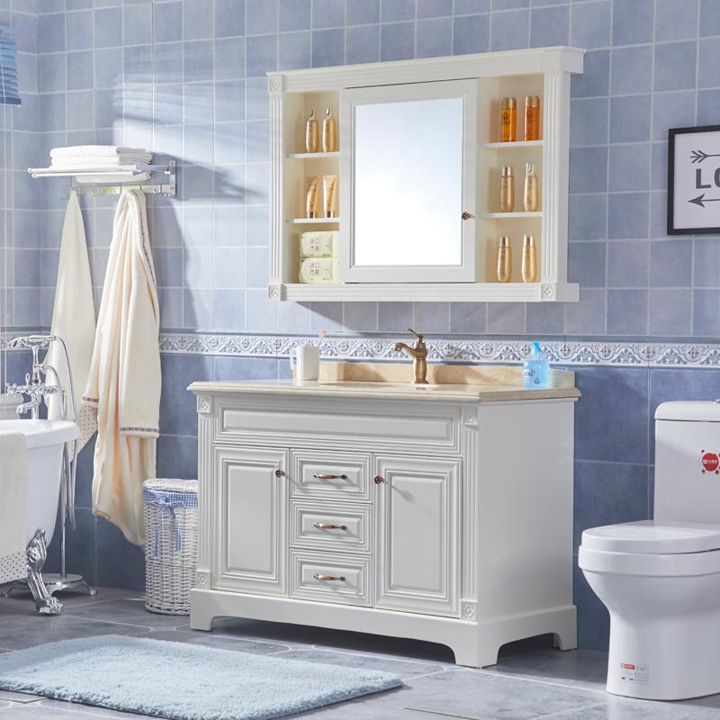 鑫东尼 美式浴室柜组合橡木实木柜洗漱台落地柜洗脸盆柜卫浴镜柜