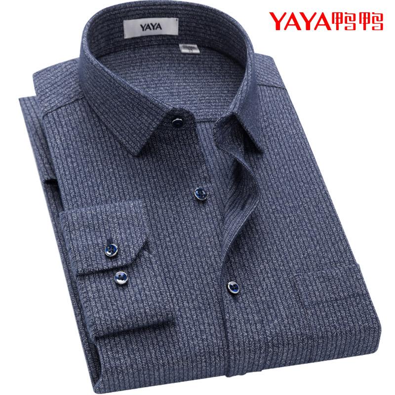鸭鸭男士长袖衬衫中年爸爸纯棉磨毛深灰色条纹中老年宽松衬衣全棉