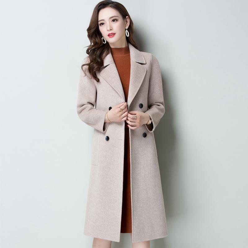 2018秋冬新款大码显瘦气质时尚手工双面呢羊毛大衣中长款毛呢外套