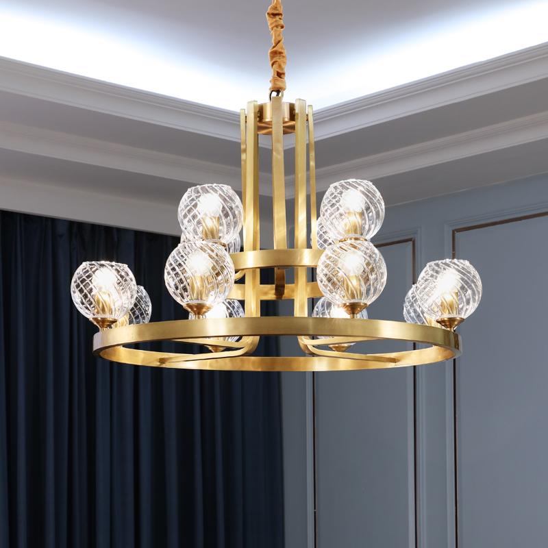 轻奢后现代简约全铜吊灯客厅灯大气家用奢华美式铜灯港式别墅灯具