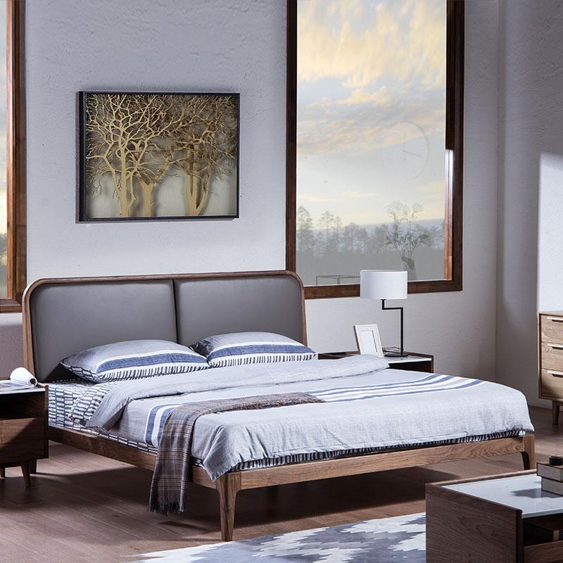 黑胡桃实木床1.8米1.5现代简约真皮双人床北欧实木床黑胡桃木家具