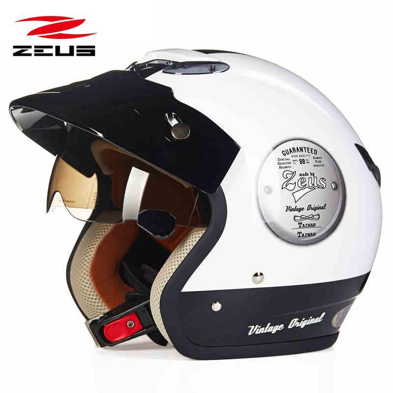中国台湾ZEUS瑞狮摩托车头盔男女士电动车复古半覆式夏季四季半盔