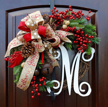 Christmas Wreath American Door Hanging Decoration Creative Christmas Wall Hanging Rattan Decoration Ornament
