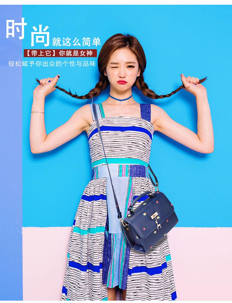 藏包舍韩版时尚铆钉十字纹手提印花小方包 3