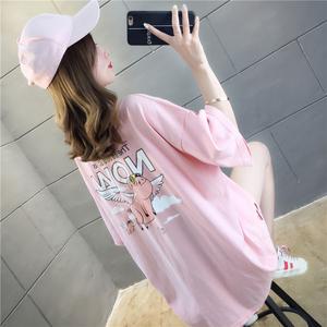 实拍夏装百搭新款胖mm上衣中长款韩版大码女装印花狗亚app官方下载安卓T恤