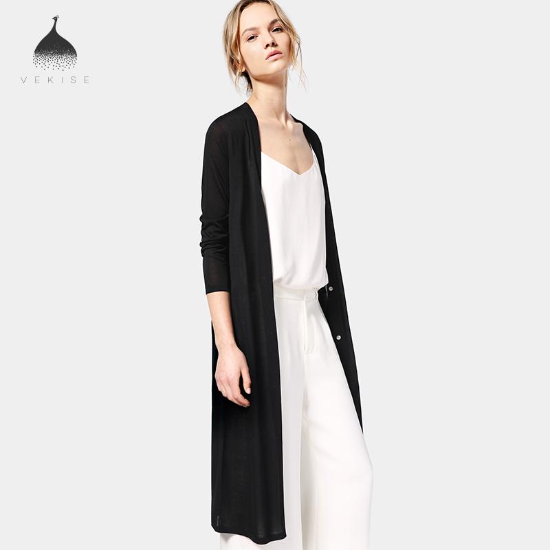 真丝中长款开衫女2018秋装新款黑色毛衣外搭长袖宽松针织衫长外套