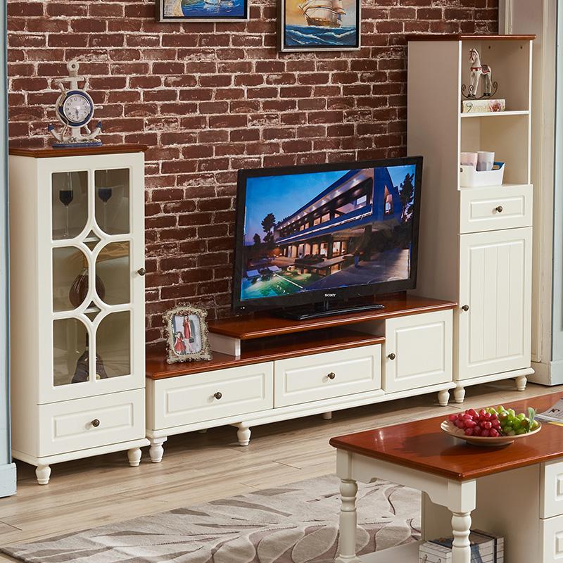 地中海伸缩电视柜茶几沙发组合小户型简约客厅地柜田园酒柜储物柜