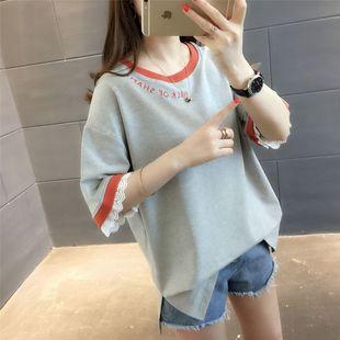10韩版潮短袖T恤女2019夏季新款学生宽松半袖蕾丝打底体恤衫上衣