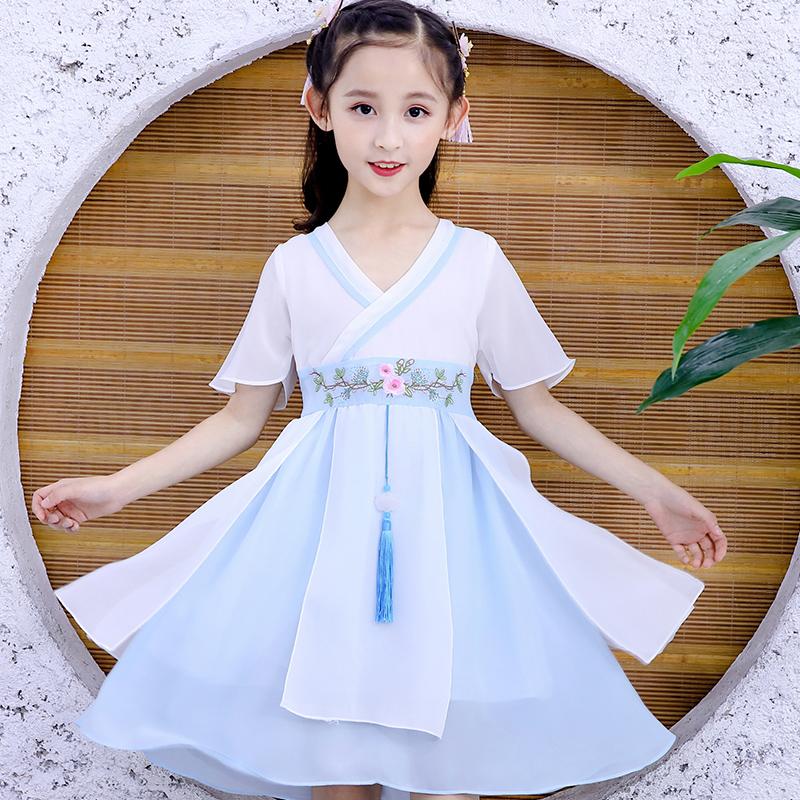 网红唐装汉服中国风古装超仙襦裙小女孩公主裙子复古唐装女童夏装