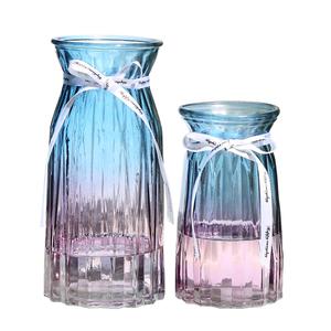 【二件套】欧式玻璃花瓶透明彩色水培植物富贵竹干花装饰插花摆件