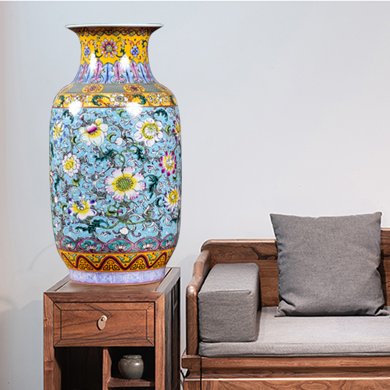 Jingdezhen ceramics imitation qianlong system bound branch lotus sitting room ground vase household act the role ofing is tasted study TV ark, furnishing articles