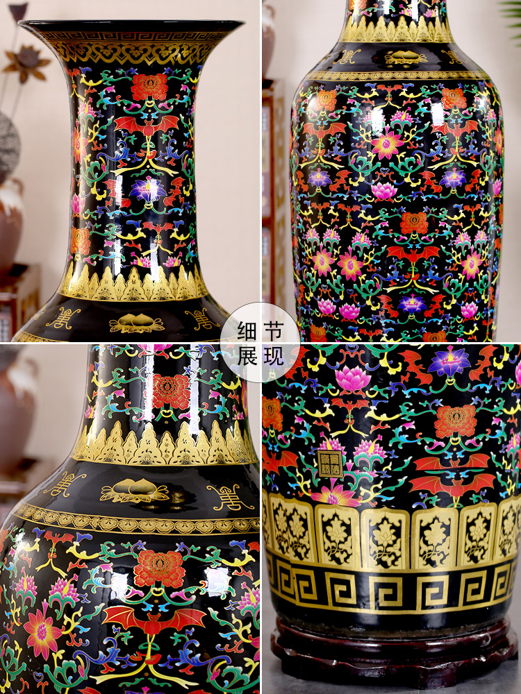 Jingdezhen ceramic vase of large sitting room place big flower adornment put lotus flower opening sitting room place
