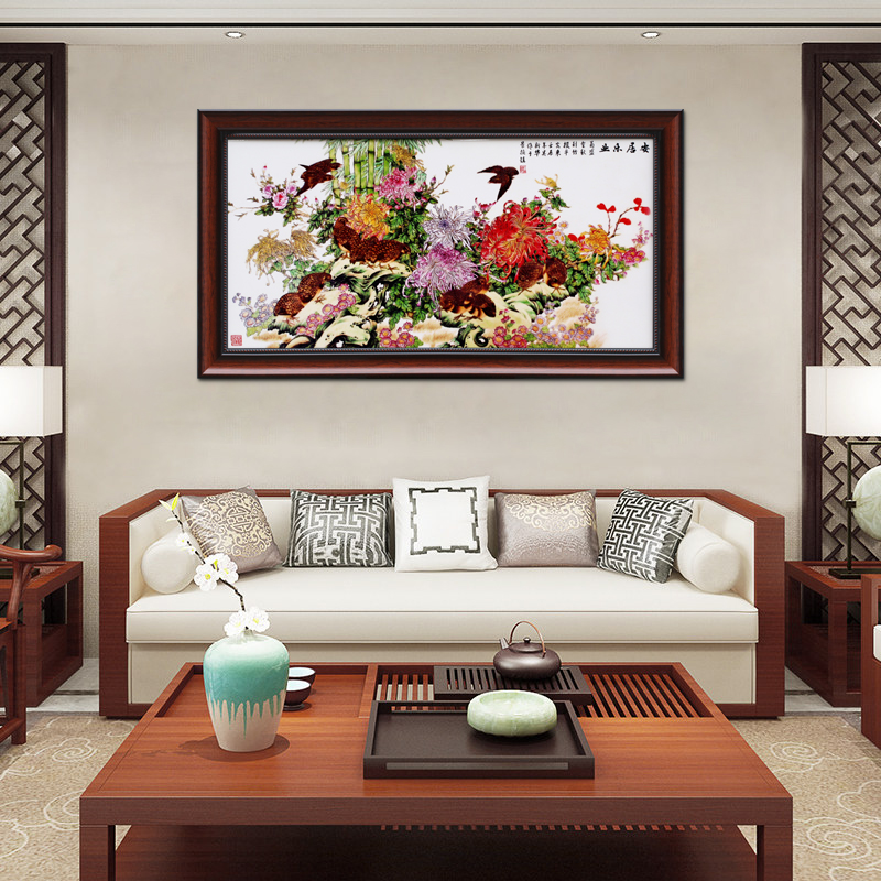Jingdezhen porcelain plate hangs a picture of modern Chinese style porch sitting room mural corridors aisle stair adornment horizontal version