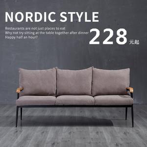 北欧布艺沙发小户型客厅双人三人位实木铁艺简约现代家具组合套装