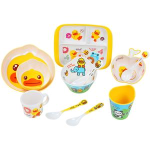 五和B.DUCK小黄鸭儿童餐具宝宝辅食碗勺水杯吃饭餐盘套装卡通可爱