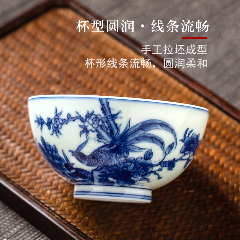 Jingdezhen blue and white porcelain masters cup large pure manual hand - made painting of flowers and birds in single cup sample tea cup tea cup under the glaze