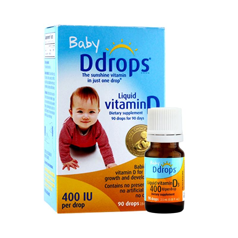 加拿大ddrops维生素D3滴剂0-1岁婴幼儿液体补钙400iu 90滴2.5ml