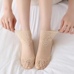 袜子女短袜春夏薄款ins潮蕾丝花边袜网女袜纱镂空水晶袜棉底船袜