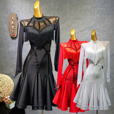 Latin Dance Dresses Latin Skirt Female Adult Long Sleeve tassel Dress Dance Performance Costume Examination Clothing